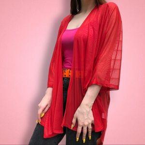 Lularoe red Lindsay sheer Cardigan Kimono